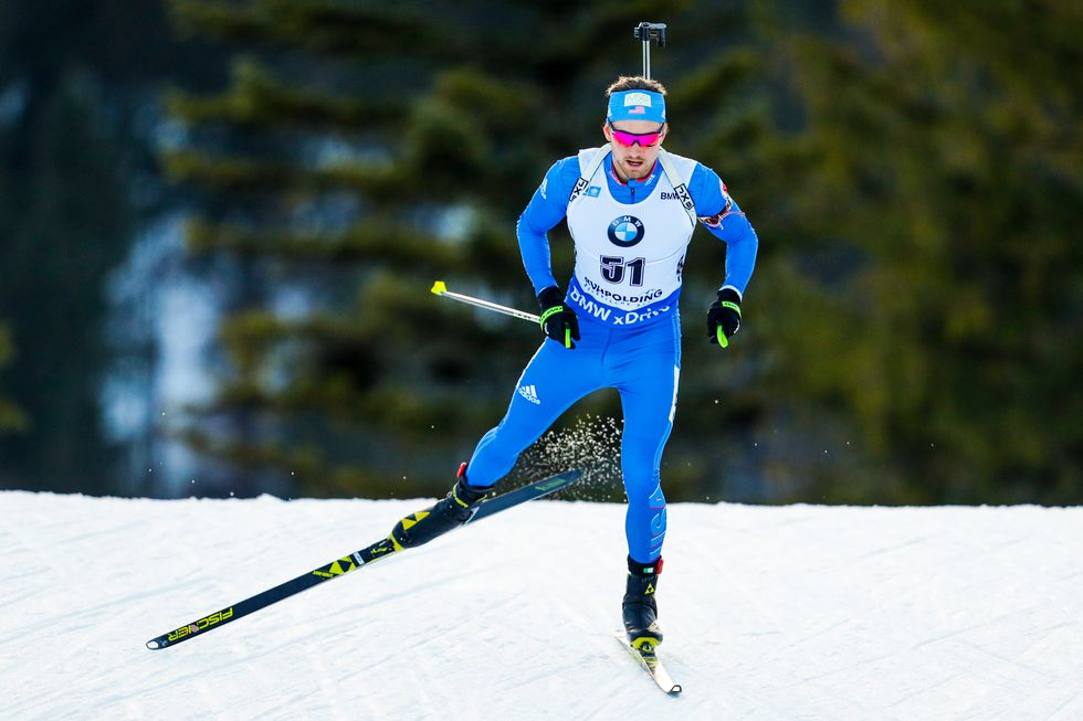 Sean Doherty, USA The biathlete during the World Cup.