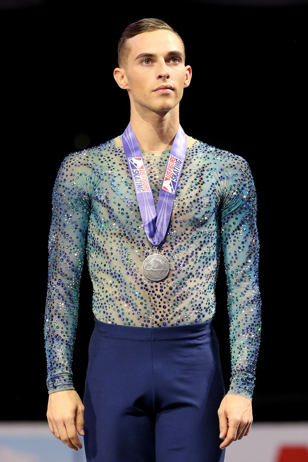 Adam Rippon, USA The figure skater on the podium after medaling at the 2018 Prudential U.S. Figure Skating Championships.