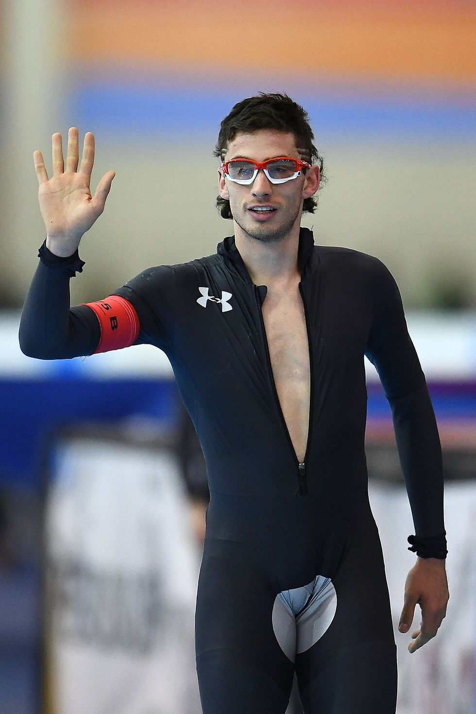 Emery Lehman, USA The speedskater after winning the Men's 5,000-meter race at the Long Track Olympic Trials.